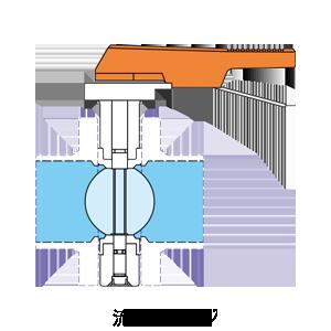 バタフライバルブの流路イメージ
